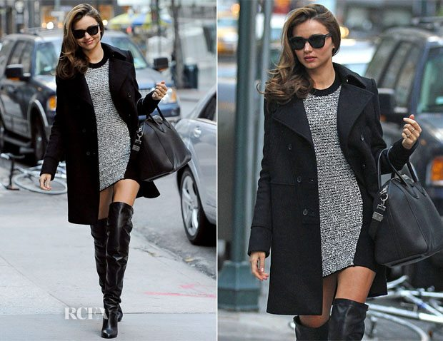 Miranda Kerr pulls off the body-con and over-the-knee boot combo with an oversized Alexander Wang coat.