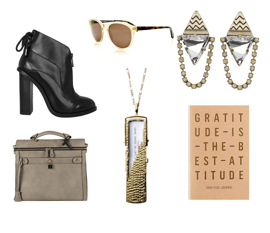 Top left to bottom right: Bootie by HWilliams Designs $450, Sunglasses by Dharma Eyewear $99, Liontette Lond earrings, $198, Angela & Roi Square Gray Tote, $148, Fortune & Frame Necklace, $275, Gratitude Journal by I love My Type, $14