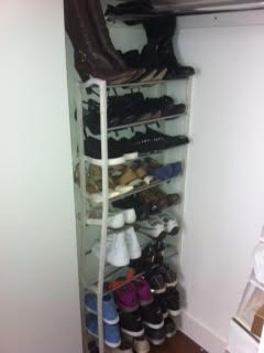 Install a shoe rack on the side wall of your closet to maximize space and organize shoes.