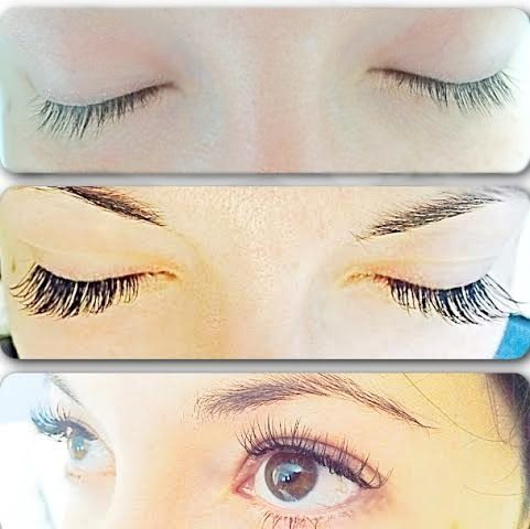 Before and after lash extensions.