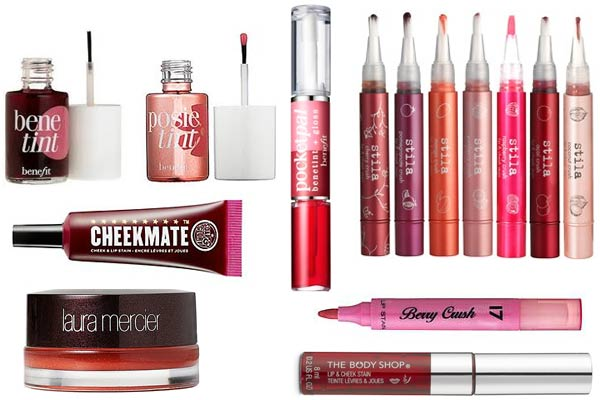 Use a lip stain with a moisturizing gloss to ensure long-lasting lips.