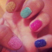 Try a multi-colored beaded look for texture. credit: nailartdesignsidea.com