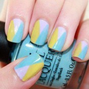 Use light pastels to create a chic colorblock. credit: thenaildesigns.com